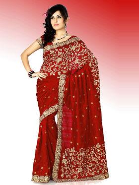 Embroidered Bhagalpuri Silk Saree - Red-448