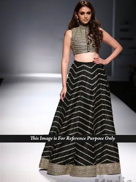 Ethnic Trend Net+Silk Georgette Embroidered Lehenga - Black - 397