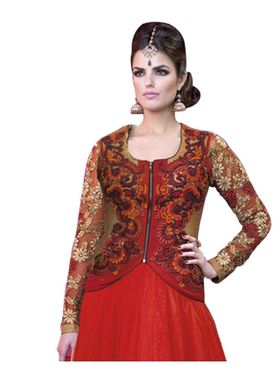 Fabfiza Embroidered Net Semi Stitched Salwar Suit_FB-5025