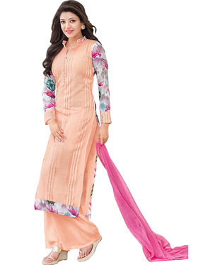 Fabfiza Embroidered Georgette Semi Stitched Straight Suit_FBEK2-62004