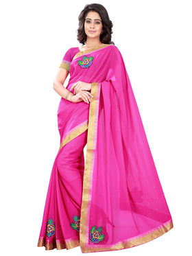 Florence Faux Georgette  Embroidered  Sarees FL-10935
