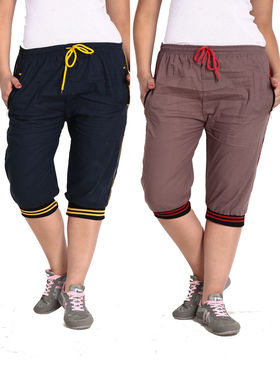 Combo of 2 Comfort Fit Cotton Capris for Women_pf04