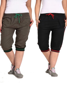 Combo of 2 Comfort Fit Cotton Capris for Women_pf05
