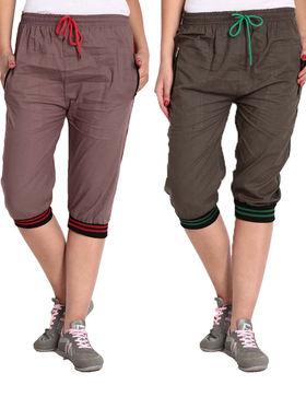 Combo of 2 Comfort Fit Cotton Capris for Women_pf07