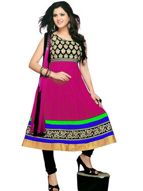 Florence Combric Cotton Embroidered Semi Stitched Anarkali Suits - Pink - SB-2084
