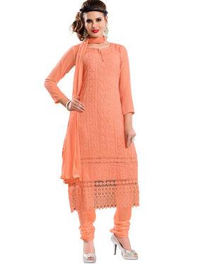 Florence Chiffon Embroidered Dress Material - Orange - SB-2111