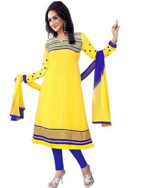 Florence Chiffon Embroidered Semi Stitched Anarkali Suits - Yellow - SB-2136