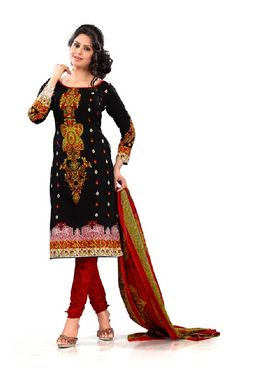 Florence Cotton  Dress Material-Black