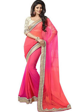 Florence Chiffon Embriodered Saree - Pink - FL-10206