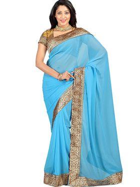 Florence Chiffon Emboridered  Saree - Rama Blue