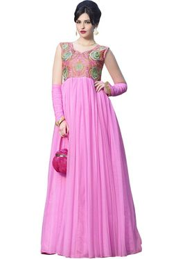 Florence Net & shantoon Embroidered Gown - Pink