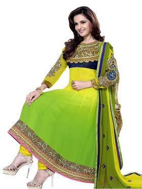 Florence Chiffon Embroidered Dress Material - Yellow - SB-1708