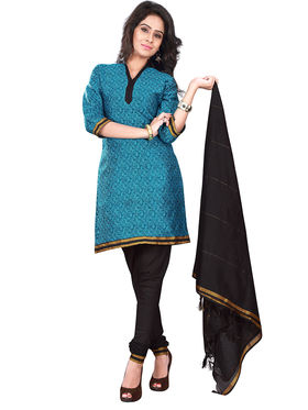 Florence Cotton Printed Dress Material - Blue & Black - SB-2756