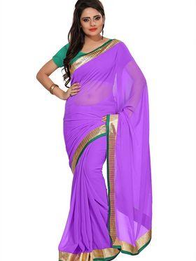 Florence Plain Chiffon Saree - Purple