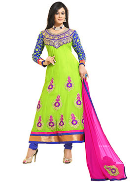 Florence Embroidered Pure Georgette A-Line Semi-Stitched Dress Material - Green-SB-1323