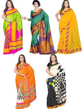 Pack of 5 Florence Printed Bhagalpuri Silk Saree - feb_4
