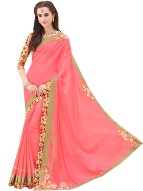 Indian Women Embroidered Chinon Saree -Ga20205