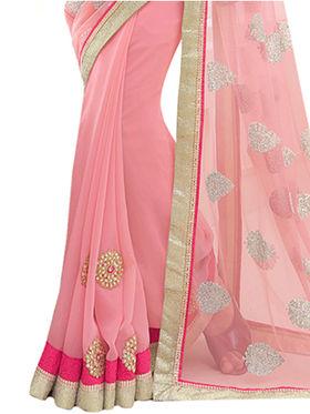 Indian Women Embroidered Net & Georgette Saree -Ga20212