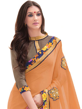 Indian Women Embroidered Satin Chiffon & Georgette Saree -Ga20215