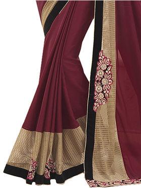Indian Women Embroidered Chinon Saree -Ga20232
