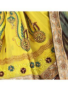 Khushali Fashion Embroidered Georgette Half & Half Saree_KF33
