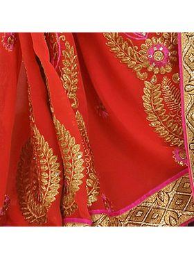 Khushali Fashion Embroidered Georgette Half & Half Saree_KF38