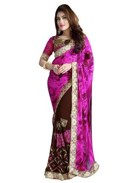 Khushali Fashion Embroidered Georgette Half & Half Saree_KF42