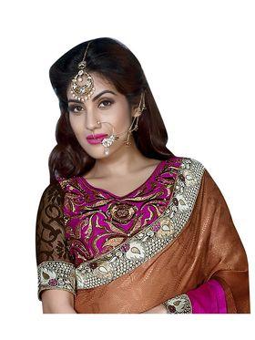Khushali Fashion Embroidered Georgette Half & Half Saree_KF51