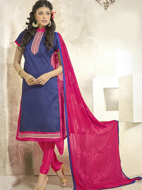 Viva N Diva Banglori Silk Patch Work Unstitched Dress Material Gazee-8005