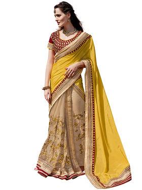 Branded Satin Chiffon Printed Saree -HT70107