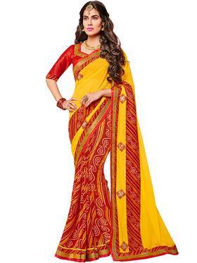 Indian Women Bandhani Georgette Saree -Ic11217