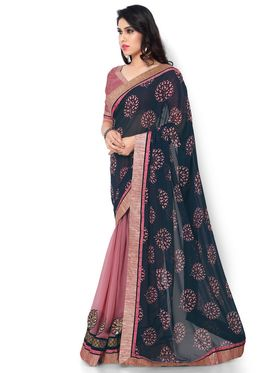 Indian Women Printed & Embroidered Georgette Saree -ic13