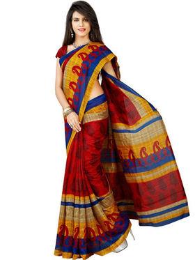 Inddus Bhagalpuri Silk Printed Saree - Multicolor - IND-BC-12015-A