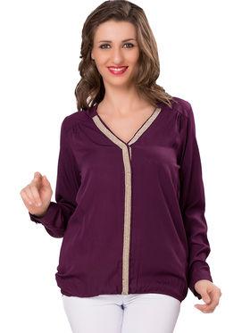 Ishin Crepe Solid Top - Dark Purple_INDWT-5040