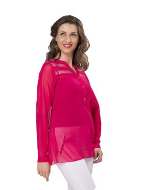 Ishin Georgette Solid Top - Pink_INDWT-5050