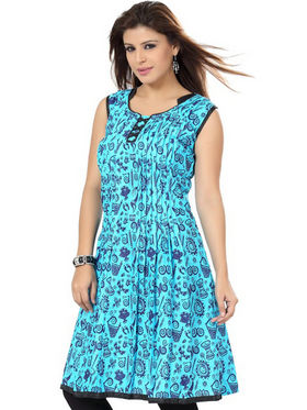 Ishin Poly Cotton Printed Kurti - Blue_ADNK-256