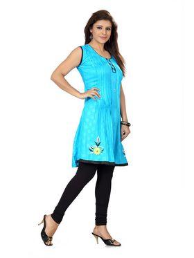 Ishin Poly Cotton Printed Kurti - Blue_ADNK-272
