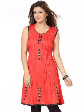Ishin Poly Cotton Printed Kurti - Orange_ADNK-275