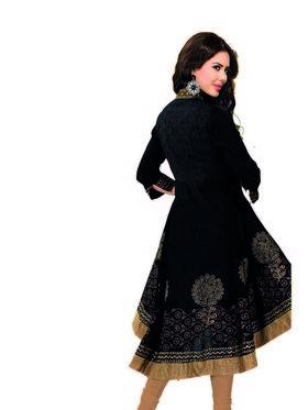 Ishin Jacquard Cotton Embroidered Kurti - Black