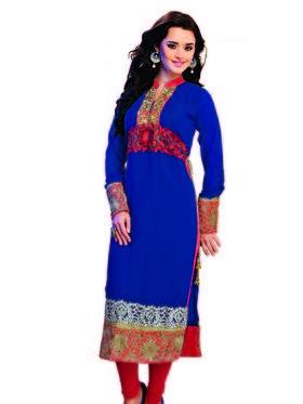 Ishin Faux Georgette Embroidered Kurti - Blue
