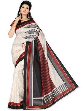 Ishin Bhagalpuri Silk Printed Saree - White - ISHIN-1780
