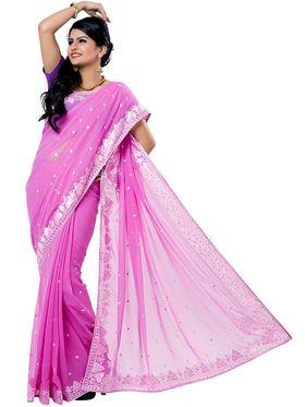 Ishin Georgette Embroidered Saree - Pink - ISHIN-2379