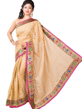 Ishin Bhagalpuri Cotton Printed Saree - Beige - ISHIN-2414