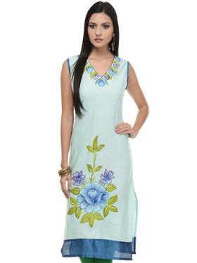 Lavennder Khadi Printed Kurti - Light Blue - LK-620119