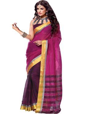 Ishin Cotton Plain Saree - Pink - MFCS-Maya
