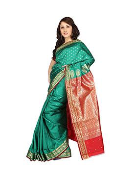 Ishin Banarasi Poly Silk Saree - Green-SNGM-996