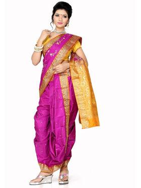 Ishin Poly Silk Printed Nauvari Saree - Pink - SNGM-1884
