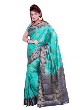 Ishin Poly Silk Printed Saree - Green & Blue