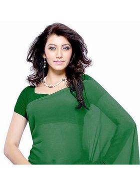 Khushali Fashion Georgette Plain Saree(Green)_JAZZ527