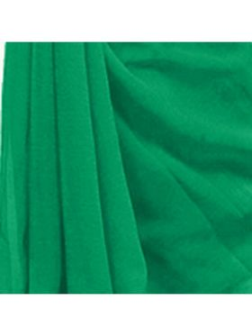 Khushali Fashion Georgette Plain Saree(Rama Green)_JAZZ530